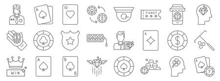 casino line icons. linear set. quality vector line Illustration