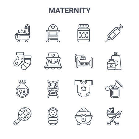 set of 16 maternity concept vector line icons. Vectores