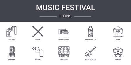 set of 10 music festival concept line icons.