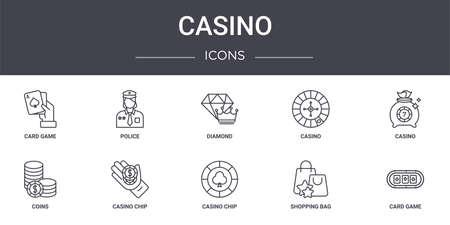 set of 10 casino concept line icons.
