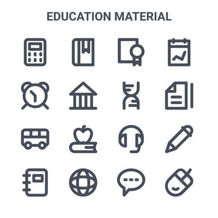 set of 16 education material concept vector line icons.