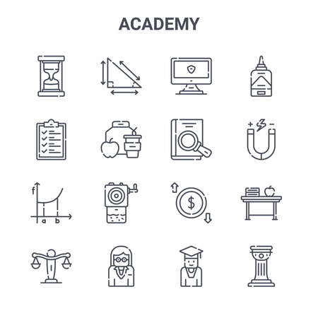 set of 16 academy concept vector line icons. Ilustrace