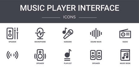 set of 10 music player interface concept line icons.