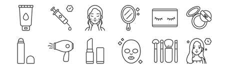 set of 12 linear beauty cosmetics icons. thin outline