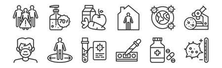 set of 12 linear infectious pandemics icons. thin outline Ilustração