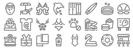 water park line icons. linear set. quality vector line