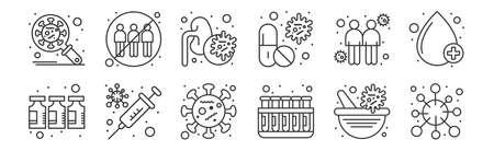 set of 12 linear coronavirus icons. thin outline