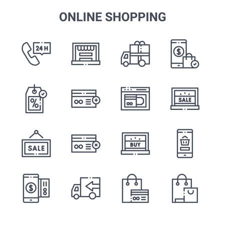 set of 16 online shopping concept vector line icons.