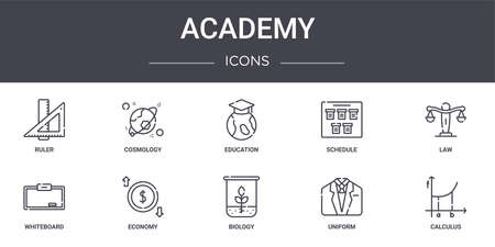 set of 10 academy concept line icons.