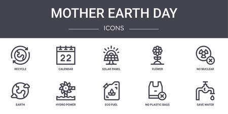 set of 10 mother earth day concept line icons. Ilustrace