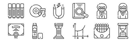 set of 12 linear academy icons. thin outline