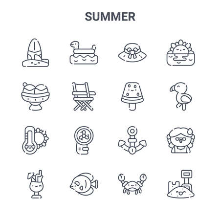 set of 16 summer concept vector line icons. Vetores