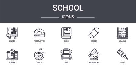 set of 10 school concept line icons Ilustrace