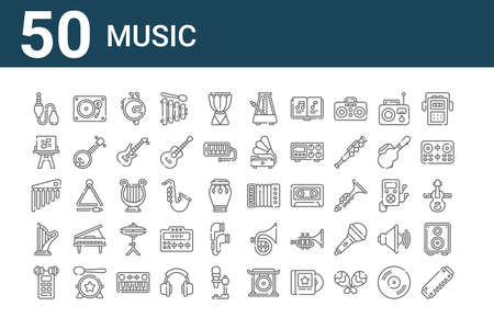 set of 50 music icons. thin outline Vector Illustration