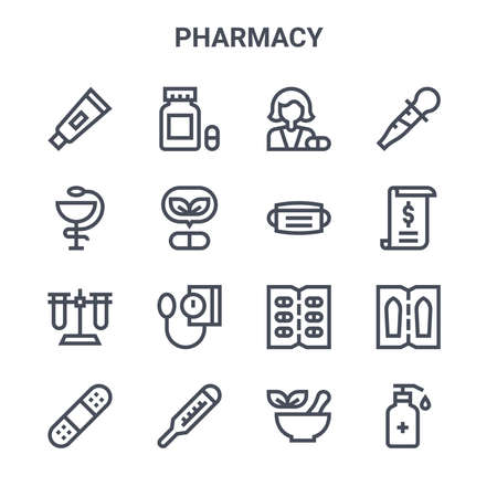 set of 16 pharmacy concept vector line icons.