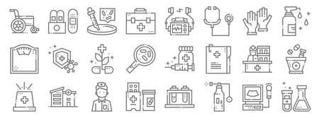 medical services line icons. linear set. quality vector line Ilustração