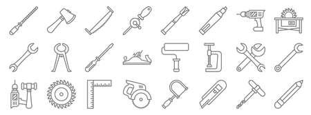 carpentry line icons. linear set. quality vector line 版權商用圖片 - 152996492
