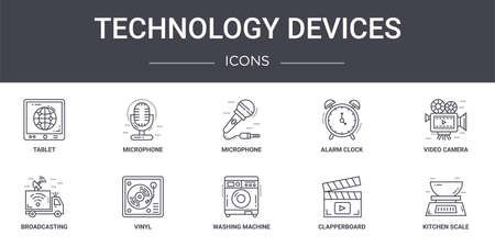 set of 10 technology devices concept line icons