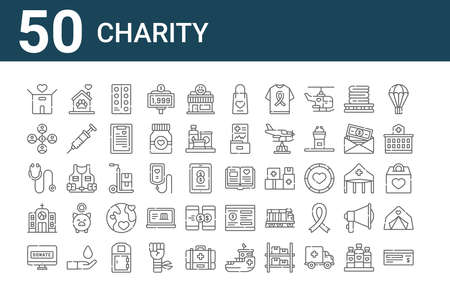 set of 50 charity icons. thin outline  イラスト・ベクター素材