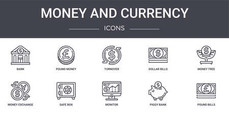set of 10 money and currency concept line icons