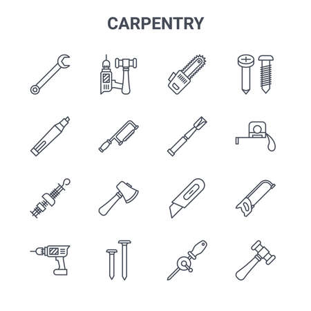 set of 16 carpentry concept vector line icons.
