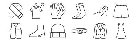 set of 12 linear clothes and outfit icons. thin outline
