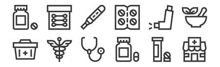 set of 12 linear pharmacy icons. thin outline
