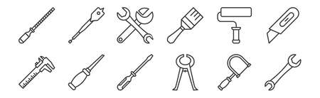 set of 12 linear carpentry icons. thin outline