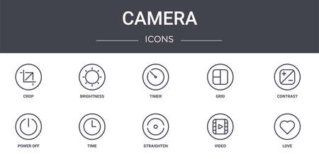 set of 10 camera concept line icons