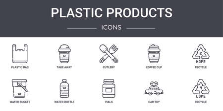 set of 10 plastic products concept line icons