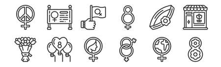 set of 12 linear womens day icons. thin outline