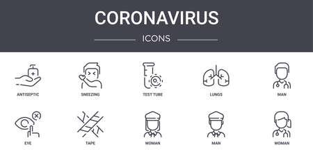 set of 10 coronavirus concept line icons Ilustração
