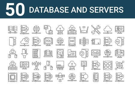 set of 50 database and servers icons. thin outline