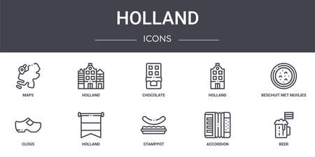 set of 10 holland concept line icons Vettoriali