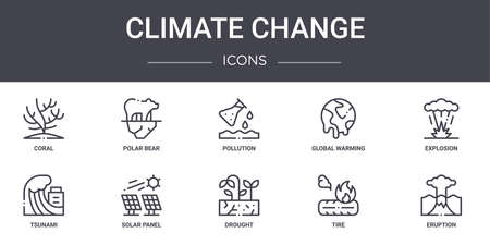 set of 10 climate change concept line icons