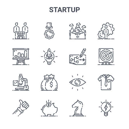 set of 16 startup concept vector line icons.
