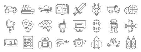 children toys line icons. linear set. quality vector line