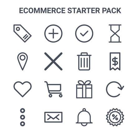 set of 16 e-commerce starter pack concept vector line icons.