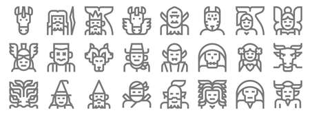 fantastic characters line icons. linear set. quality vector line Vettoriali