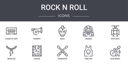 set of 10 rock & roll concept line icons