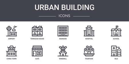 set of 10 urban building concept line icons