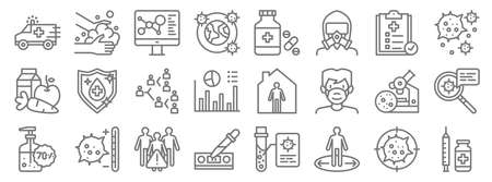 infectious pandemics line icons. linear set. quality vector line Ilustração