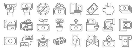 money line icons. linear set. quality vector line