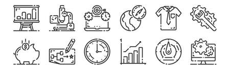 12 set of linear startup icons. thin outline