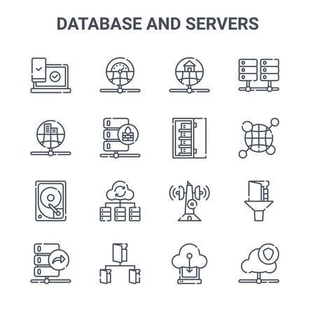 set of 16 database and servers concept vector line icons.