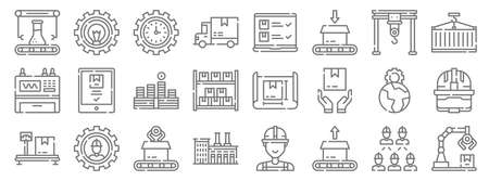 mass production line icons. linear set. quality vector line