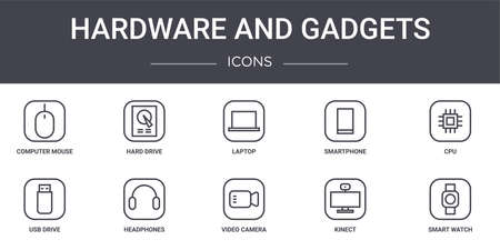 set of 10 hardware and gadgets concept line icons Vettoriali