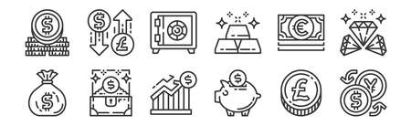 set of 12 linear money and currency icons. thin outline