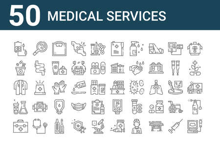 set of 50 medical services icons. thin outline