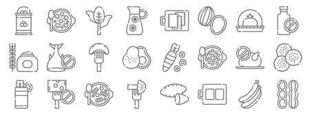vegan food line icons. linear set. quality vector line